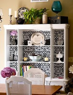 My mom has this brown hutch and I want to paint it black with this b/w pattern or a robin's egg blue pattern.