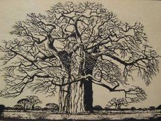 Jacobus Hendrik Pierneef - lithographic linocut of Baobab Baobab Tree, South African Artists, Kunst Poster, Naive Art, Fantastic Art, Tropical, Linocut Prints, Artist Art, Art Forms