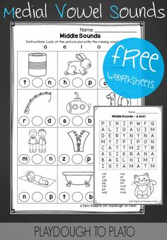 Free Middle Vowel Sound Worksheets. Great word family activity or CVC literacy center!