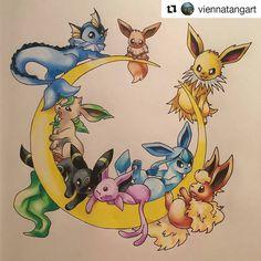 Eeveelutions . . #Eeveelutions #Eevee #Draw #Drawing #Art #Fanart #Artist…