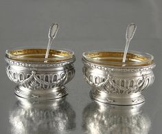 Antique French Sterling Silver & Vermeil Salt Cellars w/Spoons