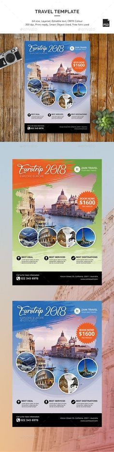 Buy European Trip Travel Template by sinzo on GraphicRiver. European Travel Flyer Template Promote your travel agency with modern style flyer design. 2 PSD using US Letter size . Layout Design, Book Design, Brochure Design, Flyer Design, Halloween Flyer, Travel Tours, Travel Trip, Rome, Event Flyer Templates