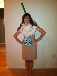 Starbucks Halloween Costume - All you'd need is a tan dress, white boa, narrow green tube and a logo to top it all off. hehe @valeriehapke I can see you doing this!!!