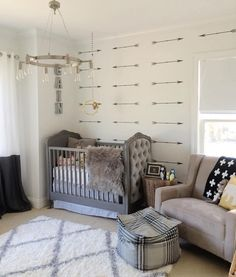 While some parents prefer to keep the baby's gender as a surprise, then a design of gender neutral nursery looks like a great idea. Baby Bedroom, Baby Boy Rooms, Baby Room Decor, Baby Boy Nurseries, Nursery Room, Kids Bedroom, Arrow Nursery, Bedroom Decor, Nursery Decor Boy