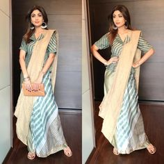 Looking for collar blouse designs for your sarees? Here are our picks of 13 amazing blouse designs you can wear with any saree. Sari Design, Sari Blouse Designs, Blouse Patterns, Saree Draping Styles, Saree Styles, Indian Designer Outfits, Indian Outfits, Designer Dresses, Designer Sarees