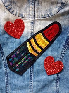 Lipstick Hand Embroidered Sequin Patch For Denim Jackets And Clothing Customisation