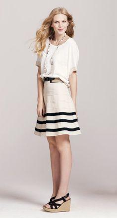 Colorblock poncho, grosgrain stripe full skirt, and lena canvas espadrilles