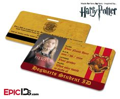 Harry Potter Inspired Hogwarts Student ID (Gryffindor) [Photo Personalized]