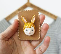 Woodland creature pin - Hare girl brooch - Paper clay wearable art. £20.00, via Etsy.