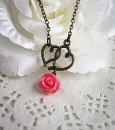 Bridesmaid necklace Loving heart cottage rose handmade jewellery with gift box by missvirgouk, $13.50