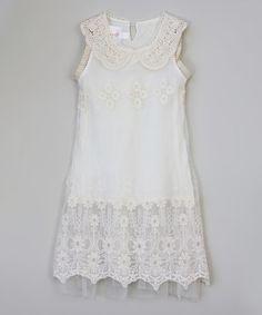 Look what I found on #zulily! White Flower Crochet-Collar Dress - Toddler & Girls #zulilyfinds