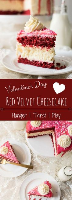 Creamy, fluffy New York Style Cheese cake sandwiched between two tender, moist layers of Red Velvet Cake coated in sweet cream cheese frosting.  This cake is the perfect decadent treat for Valentine's Day, or any time of year!