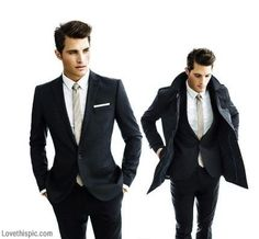 Modern Cut suit with slim tie and clean line pocket scarf