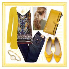 """""""It was all yellow..."""" by elzykizer ❤ liked on Polyvore featuring True Religion, River Island, WearAll, Irene Neuwirth, Kitsch and BROOKE GREGSON"""