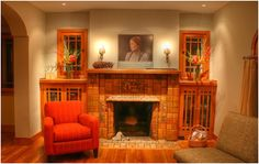 Warm cozy room with a fireplace