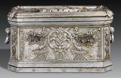 A German wrought iron strong box attributed to Johan Gottlieb Dittman & Sigmund Gatchen second quarter 18th century