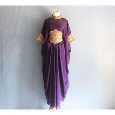 Beautiful Purple Embroidery Caftan Dress, Handmade Abaya Maxi Kaftan... ($44) ❤ liked on Polyvore featuring purple kaftan, maxi kaftan and embroidered kaftan