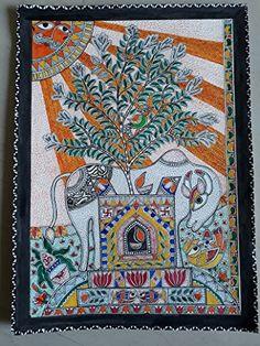 Pichwai Paintings, Indian Art Paintings, Folk Art Flowers, Madhubani Art, Indian Folk Art, Madhubani Painting, Art N Craft, Hindu Art, Tribal Art