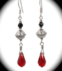 Sterling Bali beads with Swarovski red teardrop crystals