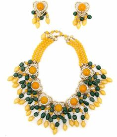Lawrence Vrba Emerald and Citrine Necklace & Earrings Set