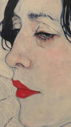 art contemporain  ⋒  art detail by hope gangloff  (b. amityville I974) peinture américaine american painting portrait figurative acrylic linen