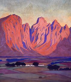 "Jacob Hendrik Pierneef (South African painter) 1886 - 1957 Cape Farmland, 1930 casein x cm. x 20 in.) inscribed, signed and dated ""aan.de Kock van J. Landscape Art, Landscape Paintings, Landscapes, Landscape Photography, Johannesburg Art Gallery, Information Art, Art Cart, South African Artists, Art Prints For Sale"