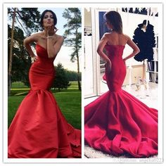 2016 Sexy Red Mermaid Prom Dresses Long Strapless Ruffles Chapel Train Satin Backless Formal Pageant Evening Gowns Veatido De Festa Prom Dresses For Cheap Prom Dresses Plus Size From Angelia0223, | Dhgate.Com