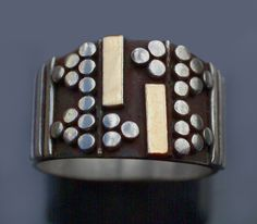 MODERNIST  Ring   Silver, Partly Gilt  H: 1.3 cm (0.51 in)   Marks: '925'  c.1960