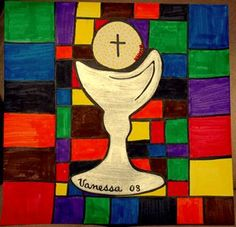Check out student artwork posted to Artsonia from the First Communion Stained Glass project gallery at St. Religion Activities, Teaching Religion, Catholic Crafts, Catholic Kids, Catholic School, Religious Education, Religious Art, School Murals, 2nd Grade Art