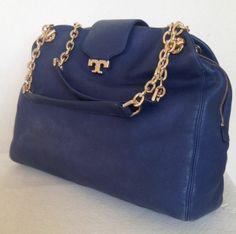Tory Burch Megan Parisian Blue Leather Satchel Bag Handbag $550.00 #ToryBurch #Satchels