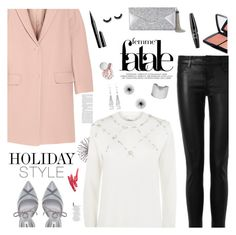 """""""Holiday Style: Leather Pants"""" by jafashions ❤ liked on Polyvore featuring DKNY, J Brand, 3.1 Phillip Lim, Dune, BCBGMAXAZRIA, Allurez, Chico's, NYX, Marc Jacobs and Lancôme"""