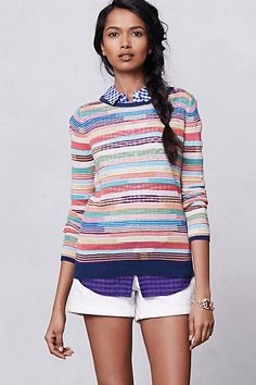 Sheerstripe Pullover #anthropologie