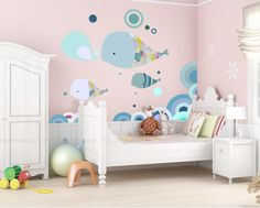 NURSERY: WALL DECOR: Jenny Sweet Dolphin Bedroom Removable Nursery Large Wall Sticker Decals