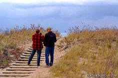 "Nancy and Bob photographing at Platte Bay during ""Autumn Dunes"" Eco~Photo Excursion, 10-19-2012; ©markscarlson.com — at Sleeping Bear Dunes National Lakeshore. http://www.greatlakesphototours.com"