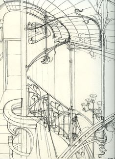 Horta Museum Details Sketch By Victor Who Invented Art Nouveau First Building In The World