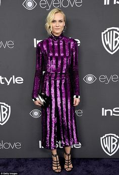 Chic and cool: Diane Kruger shinned in purple but with a focus on style rather than sexiness