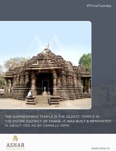 #TriviaTuesday The Kopineshwar Temple is the oldest temple in the entire district of the Thane. It was built & renovated in about 1750 AD by Chimaji Appa. www.ashar.in #AsharGroup #RealEstate #Thane #Housing #Apartments #Residences