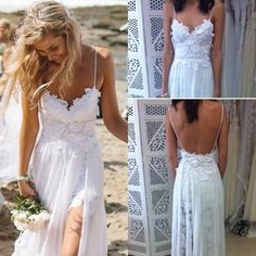 Sexy Beach White Ivory Wedding Dresses Bridal Gown Size 2/4/6/8/10/12/14/16++