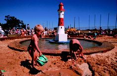 Kids are having fun at Eastbourne beach, East Sussex