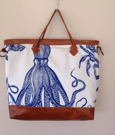 A personal favorite from my Etsy shop https://www.etsy.com/listing/228747548/octopus-nautical-carryall-tote-blowfish