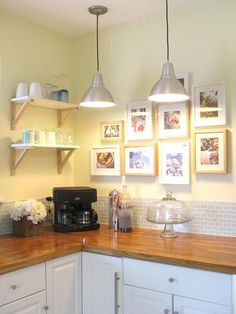 Good idea for no wall cabinets-shelves & wall pics Chic White - Painted Kitchen Cabinet Ideas on HGTV