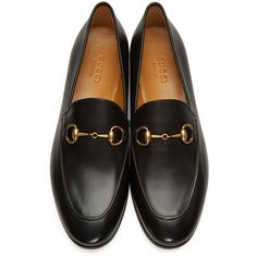 Gucci Black Jordaan Loafers (31,150 PHP) ❤ liked on Polyvore featuring shoes, loafers, almond toe shoes, black shoes, horse bit shoes, black horsebit loafers and loafers moccasins