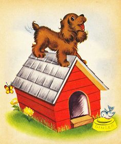 Doing his best Snoopy impression, I see. :) #vintage #illustrations #dogs