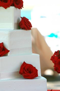 Red & White Wedding Cake From Rusticweddingchic.com