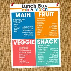 Do you struggle to think of healthy, yummy ideas for your kid's lunch everyday? Stop the struggle with this great list of School Lunch Box Ideas. Easy to mix & match.