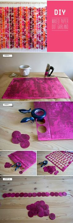 DIY tissue paper Wax dot paper garland – tutorial from green wedding shoes, here… DIY tissue paper Wax dot paper garland – tutorial from green wedding shoes, here: greenweddingshoes… Creative flat Diy Wedding Backdrop, Diy Backdrop, Flower Backdrop, Backdrops, Backdrop Lights, Paper Backdrop, Ceremony Backdrop, Wedding Ceremony, Wax Paper
