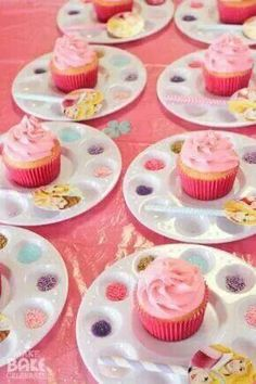 Cupcake decorating stations! So cute!