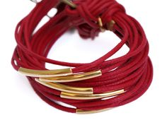 Bracelet, multi-cord bracelet, red waxed cord bracelet, brass bracelet, stackable bracelet, jewellery by Tmlccreations on Etsy