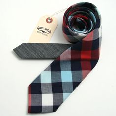 Madison Check & Japanese Indigo Shirting Necktie - vintage ties handmade in the United States