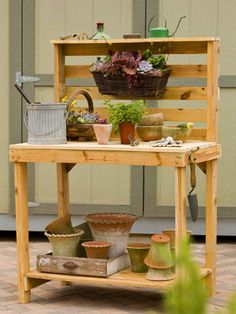 Great list of potting bench ideas! And this one made from pallets has plans, though I'd combine several of these.